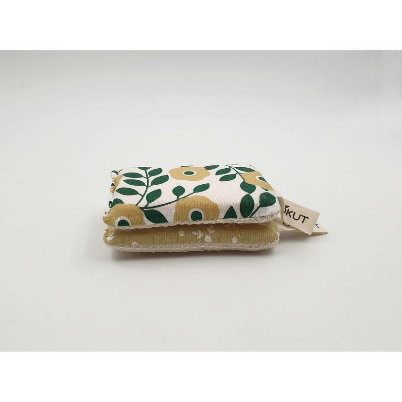 Eponges écologiques x2 coton et pulpe de bois lavables fleurs vertes - Cookut