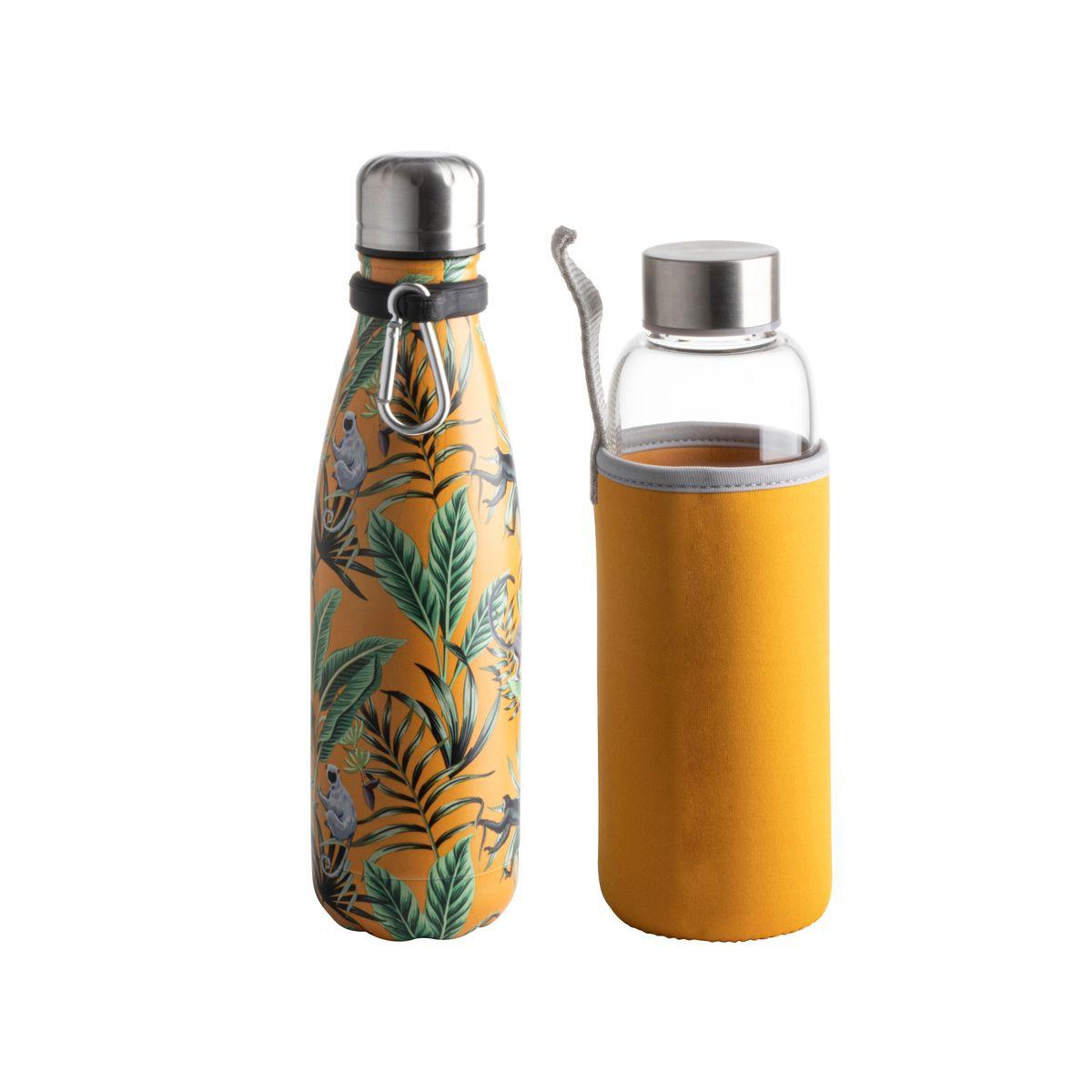 Coffret Jungle bouteille jaune isotherme 500ml + bouteille eau - Zodio