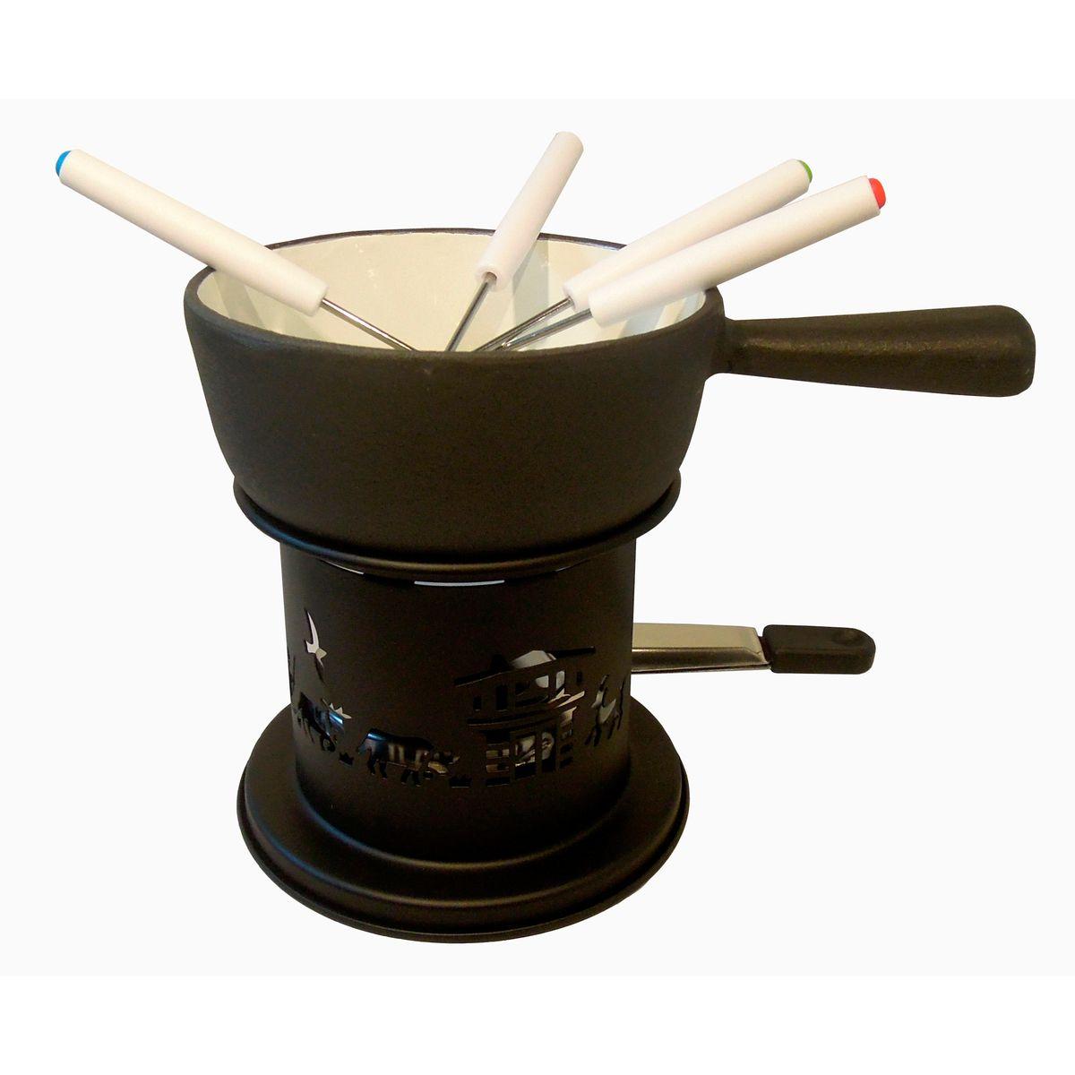 Service à fondue pour 2/3 pers en fonte Ø 14 cm - Baumalu
