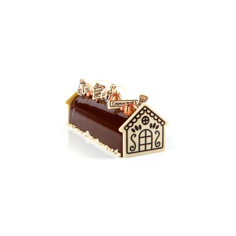 Set embouts bûche de Noël et décors alimentaire maison pain d´épices blanc