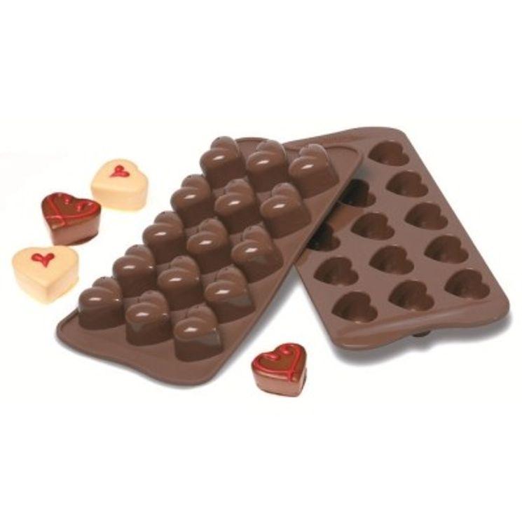 Moule à chocolats en silicone coeurs - Silikomart
